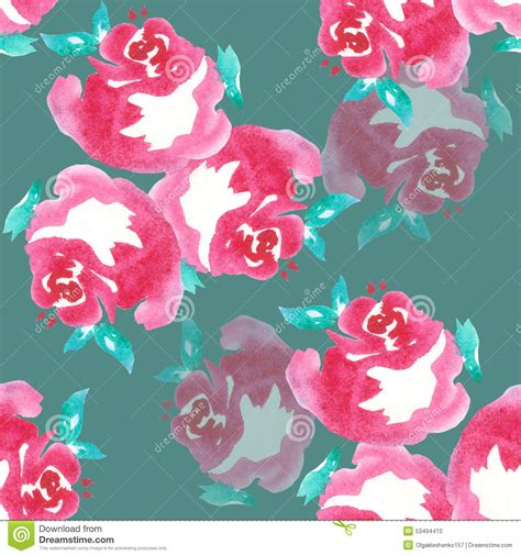 pink watercolor pattern pink rose watercolor pattern seamless handmade stock