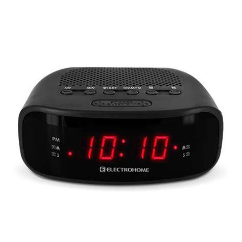electrohome digital am fm clock radio w battery backup dual alarm snooze black