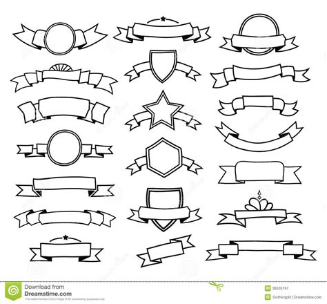 doodle ribbon vector free collection of doodle ribbons stock vector illustration