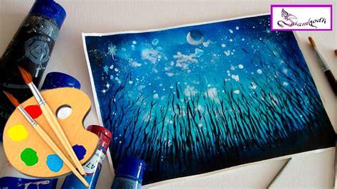 pintar cuadros con pintura acrilica como pintar bosque nocturno cielo estrellado en pintura