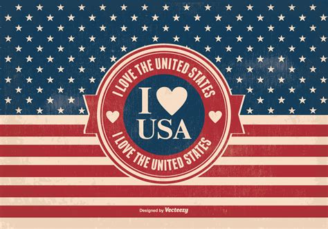 i love vintage i love the usa vintage style illustration download free