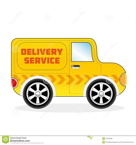 yellow light delivery service cartoon delivery sertvice van stock vector image 57533408