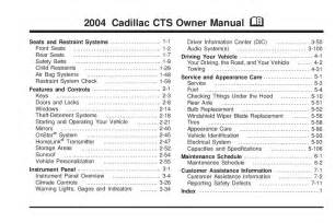 2004 Cadillac Manual 2004 Cadillac Cts Owners Manual Just Give Me The Damn Manual