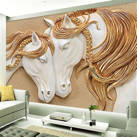 custom murals custom mural wallpaper 3d golden mane horses wall art