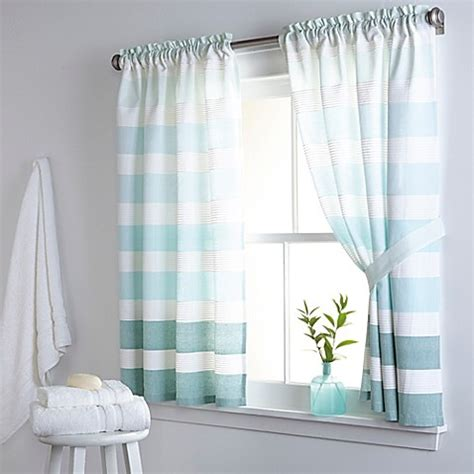 blue and white striped kitchen curtains curtain