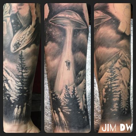 ufo tattoos ufo abduction ink black n grey sleeve by jim