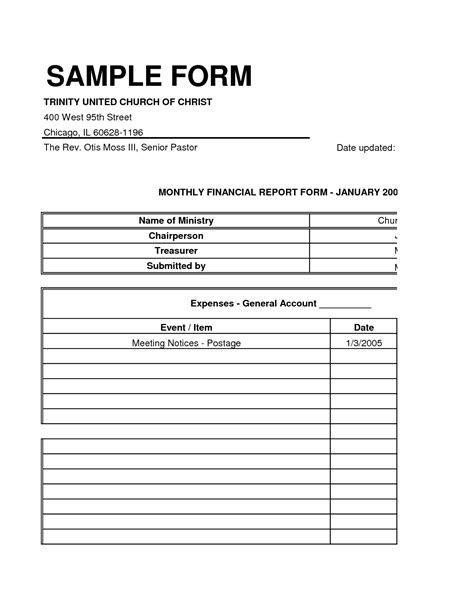 templates church treasurer report template new best s of small church