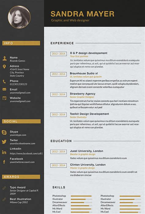 The Best Resume Font by Designer Resume Template 8 Free Samples Examples