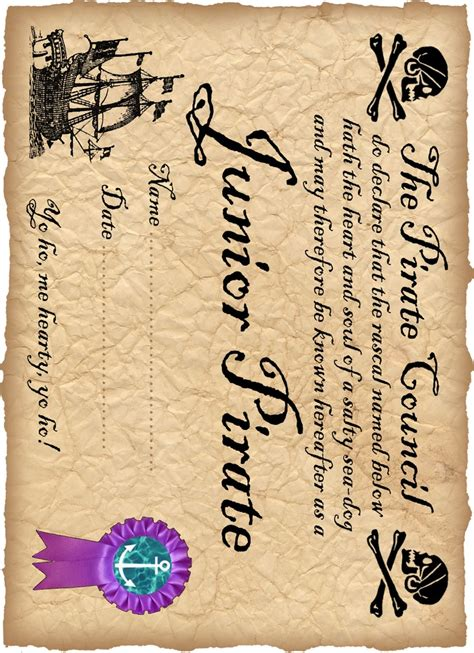 pirate certificate template best 25 pirate crafts ideas on pirate