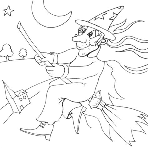 flying witch coloring page halloween coloring pages april 2011