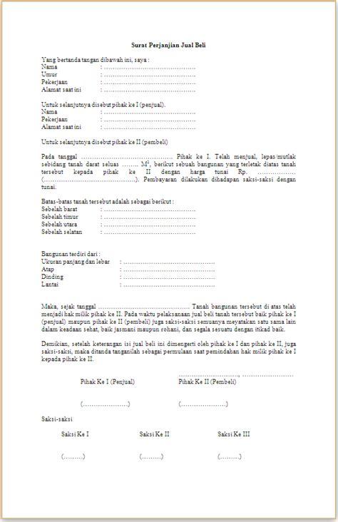 contoh format surat kuasa jual beli tanah surat perjanjian jual beli tanah