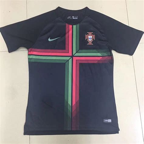 portugal 2018 world cup away black soccer jersey