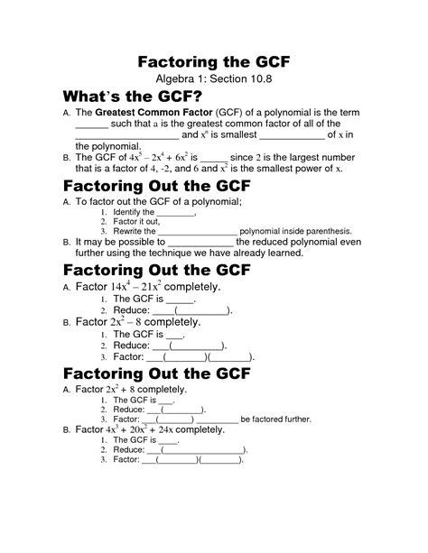 Factoring Polynomials Gcf Worksheet by 16 Best Images Of Factoring Gcf Worksheet Greatest Common Factor Worksheets Factoring