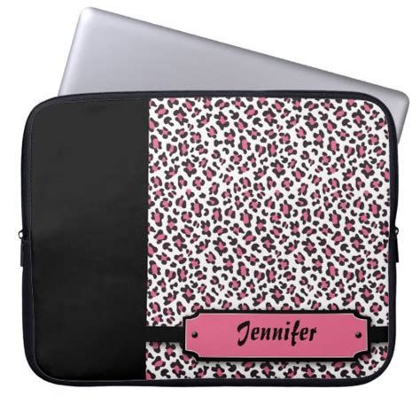 personalized cheetah print pink laptop sleeve zazzle