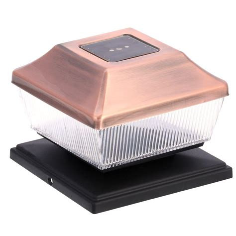 Hton Bay Solar Copper Outdoor Integrated Led Post Cap Home Depot Solar Post Lights