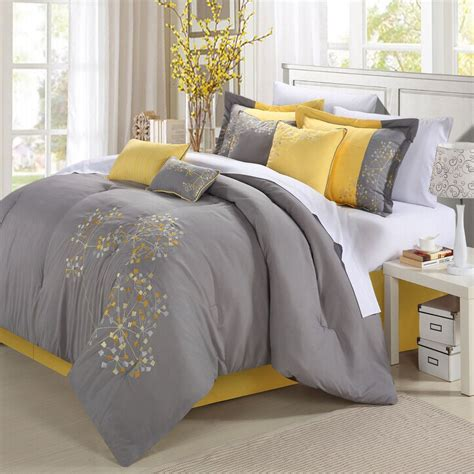 yellow and grey bedding fel7 yellow and gray bedding that will make your bedroom pop bedrooms