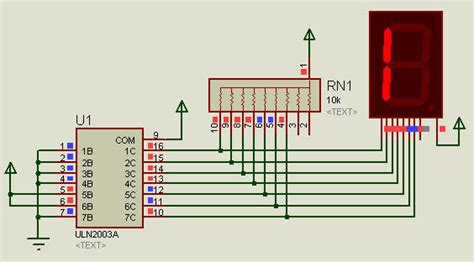 pull up resistor in proteus driver uln2003 to 7 segment behaviour in proteus electrical engineering stack exchange