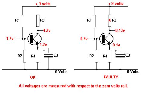 load resistor symbol collector load resistor open circuit tutorial transistor fault finding electronic hobby projects