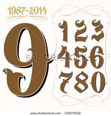 tattoo numbers styles therealtakeone s portfolio on shutterstock