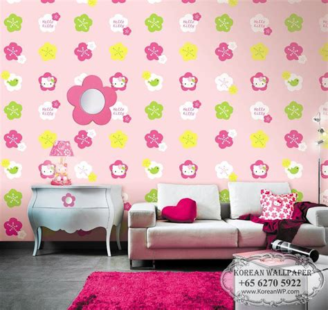 wallpaper hello kitty for room kids teens h6029 hello kitty floral wallpaper