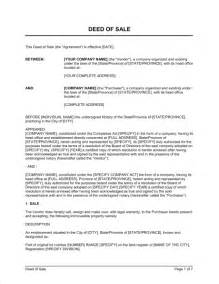 Deed Of Ownership Template by Deed Of Sale Real Estate Property Template Sle Form