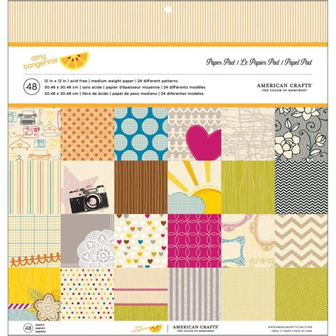 American Craft Paper - american craft tangerine paper pad 48 sheet assorted