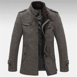 mens knitted stand collar wool blend tweed coats long