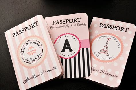 pin paris themed passport invitations for birthday party