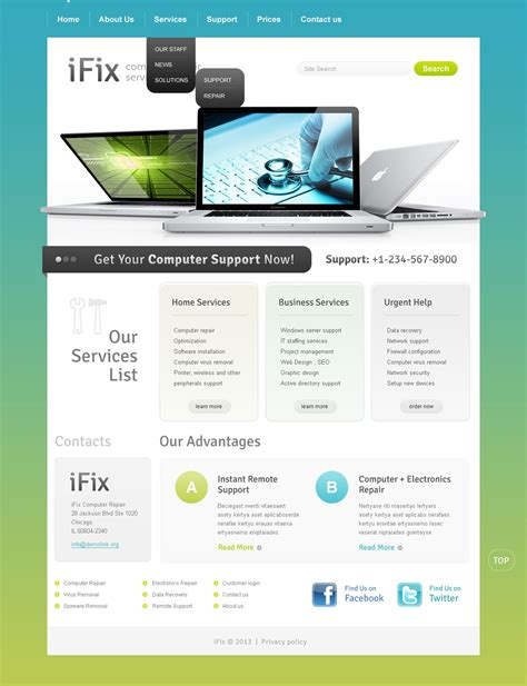 computer website templates free computer repair website template 42653