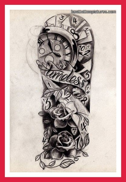time waits for no one tattoo designs half sleeve with quot time waits for no one