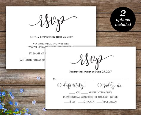 Rsvp Printable Card Wedding Rsvp Cards Wedding Response Wedding Website Card Templates