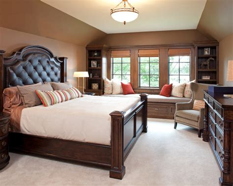 traditional bedroom ideas with brown wall paint color also king size bed with