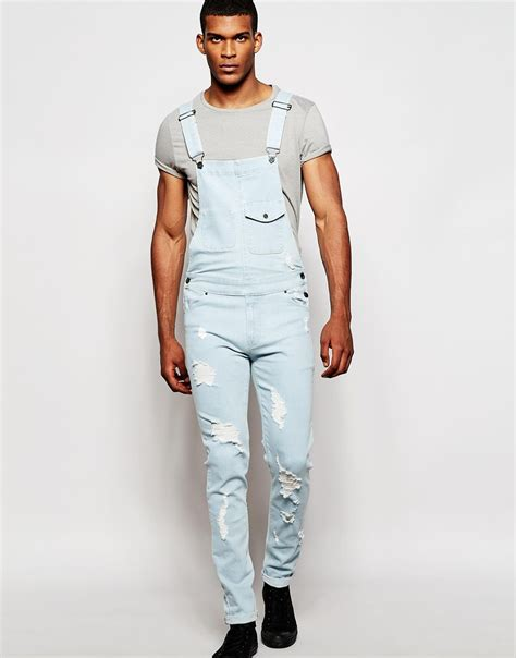 light blue overalls mens asos overalls in fit with rips in blue for lyst