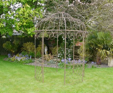 garden gazebo shabby chic brown wrought iron metal garden fancy