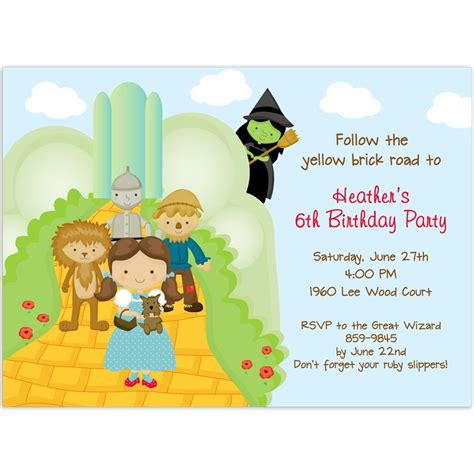 wizard of oz birthday invitations wblqual com