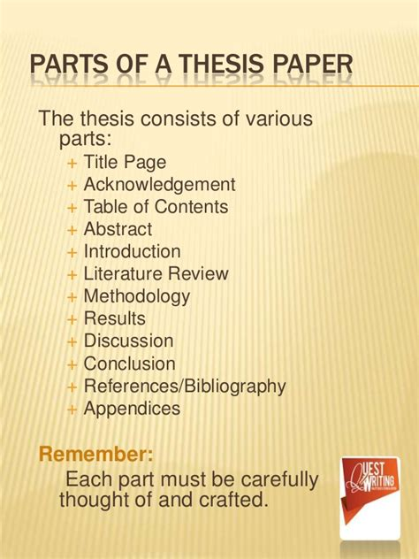 sections of a thesis the abc s of thesis writing the simplest way to learn
