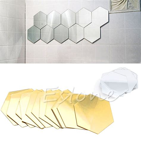 Wall Sticker Arsenal 3 new qualified wall stickers 12pcs 3d mirror hexagon vinyl removable wall sticker decal home