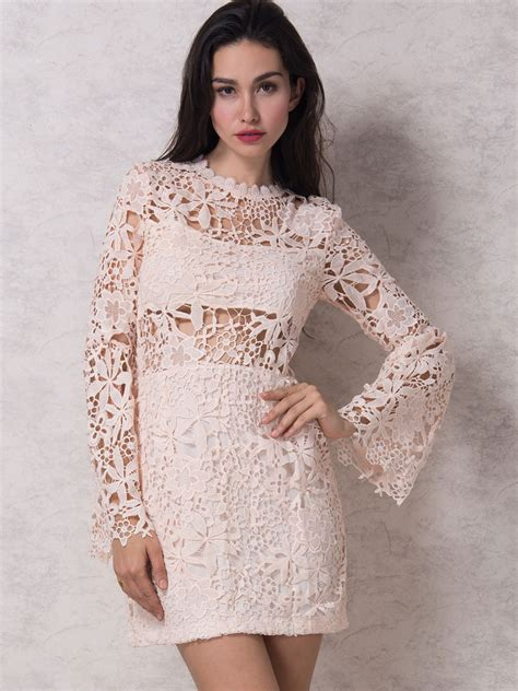 Lace Sleeve Dress pink flared sleeve lined crochet lace bodycon dress choies