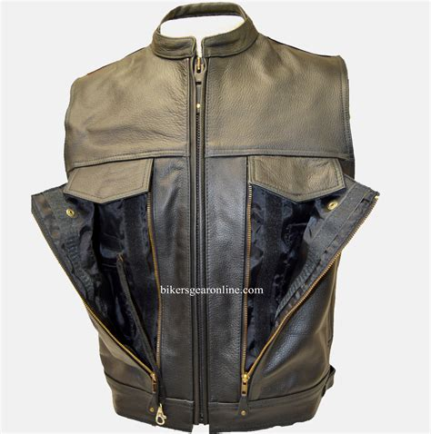 leather biker vest mens motorcycle vest leather made with gun pocket
