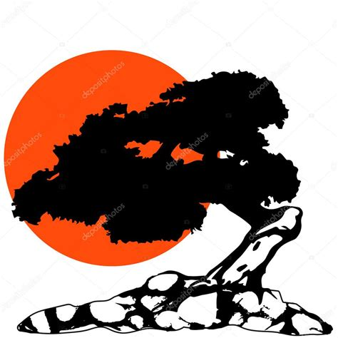 the bonsai silhouette with sun and rock stock vector