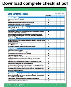 data center checklist immedion
