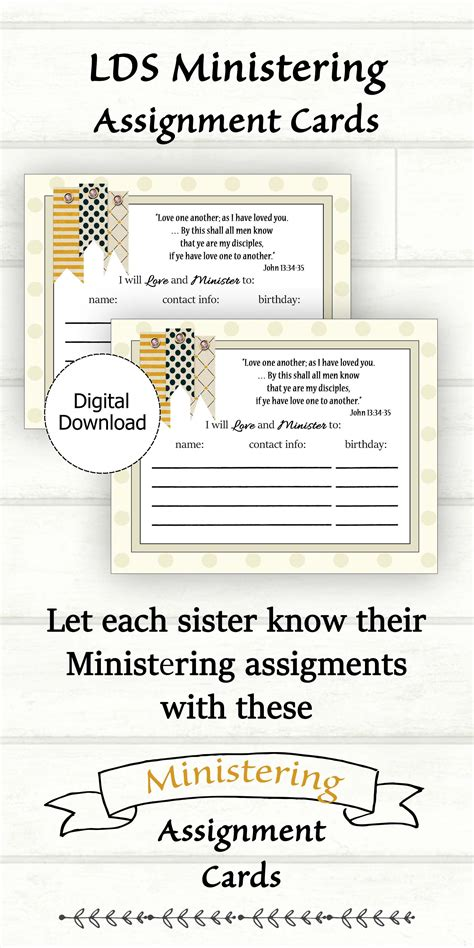 Visiting Teaching Assignment Cards Template by Ministering Assignment Card Printable Lds Ministering