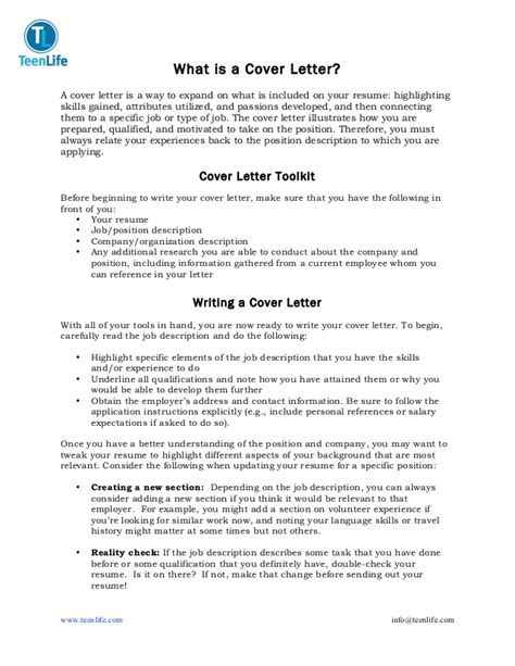 cover letter for guide teenlife cover letter guide