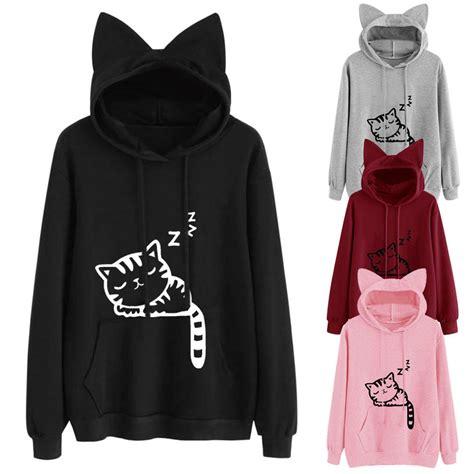 Hoodie Longkitty Black womens cat ear sleeve hoodie sweatshirt hooded coat tops blouse ebay