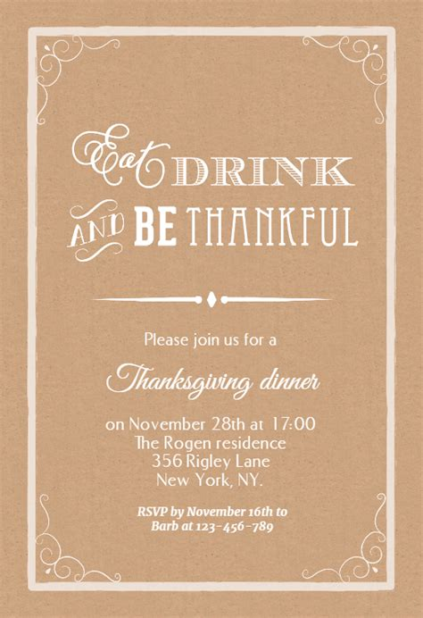 eat drink   thankful thanksgiving invitation template   island