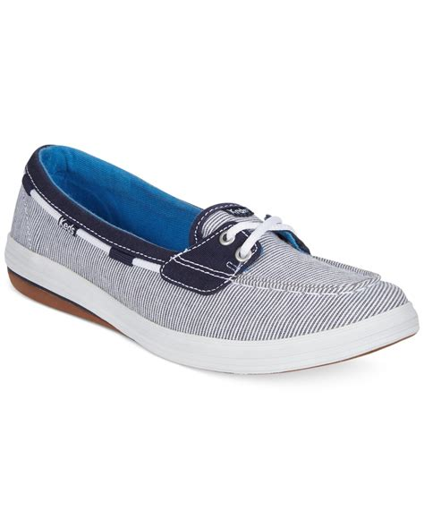 boat shoes keds lyst keds women s glimmer boat shoes in blue