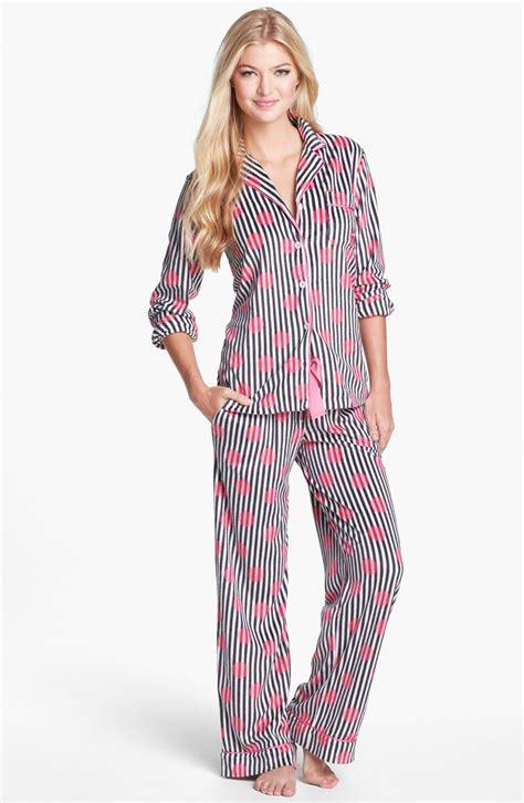 Pajama Wish dkny wish list pajamas in black charcoal stripe pink dot lyst