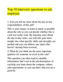 top 10 questions to ask employer
