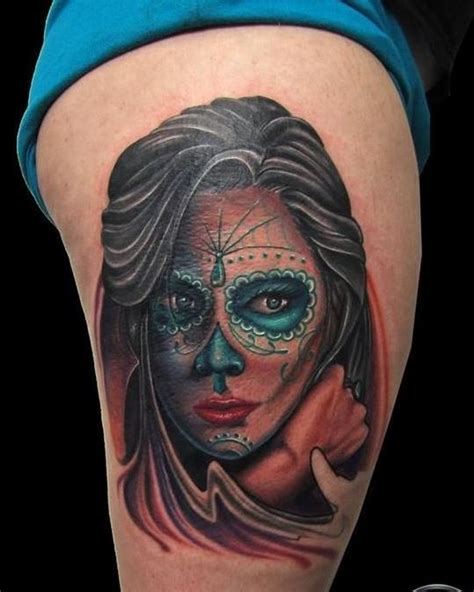 tattoo girl of the day colorful dark day of the dead girl tattoo on thigh