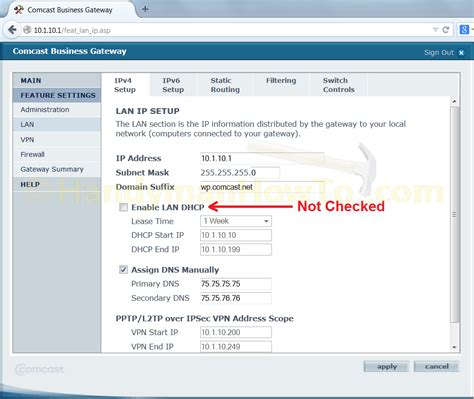for dhcp how to configure a comcast business class static ip address